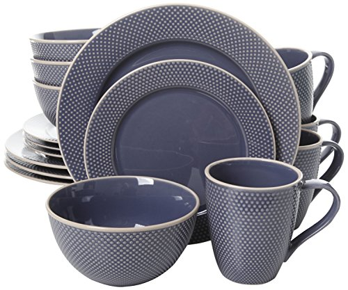 Embossed Blue Dots - Gibson Elite Lilith 16 Piece Dinnerware Set with Embossed Dots, Blue