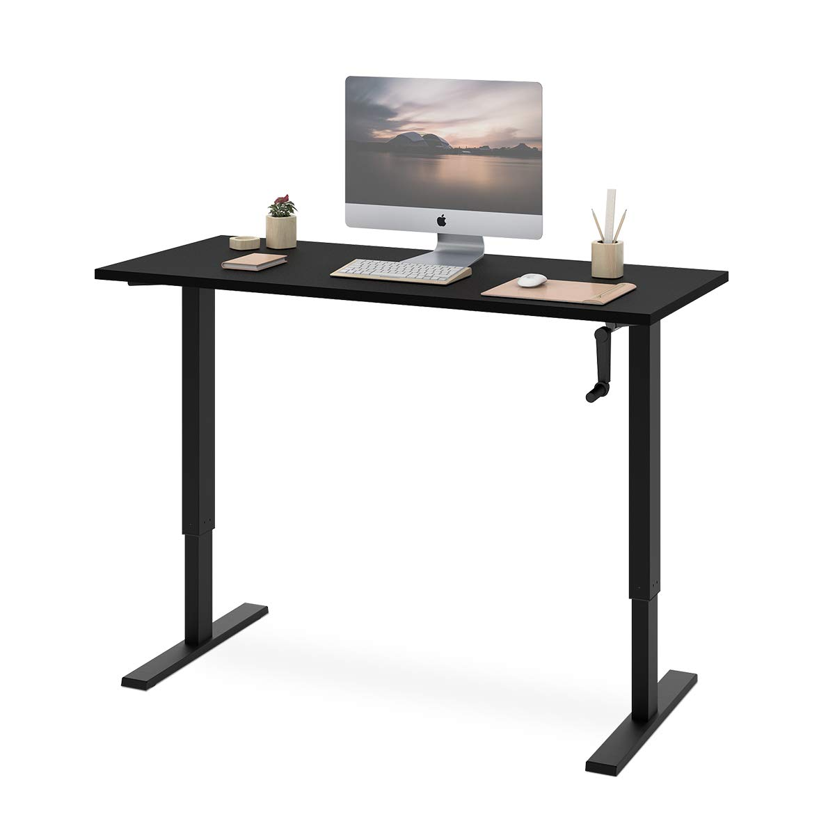 DEVAISE Standing Desk - 55'' Adjustable Sit to Stand Up Desk with Crank Handle, Black