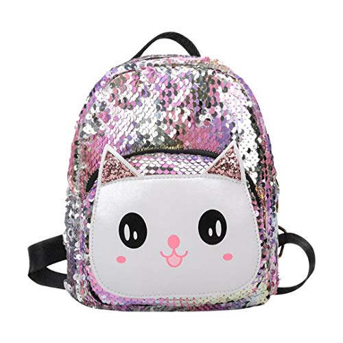 Girls Cat Sequins Mini Backpacks Children Kids Bling Travel Shoulder Bags Small School Book Bags Multicolor ()