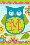 Custom Decor Whimsical Happy Owl Friends Monogram M Double Sided Garden Flag For Sale