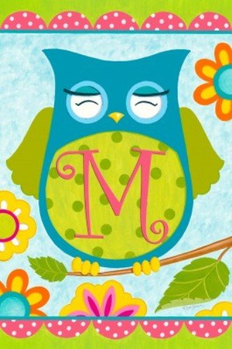 Whimsical Happy Owl Friends Monogram M Double Sided Garden Flag Custom (Custom Decor Monogram Flag)