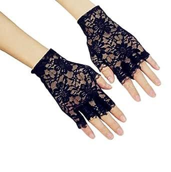 DreamHigh Women Wrist Length Lace Half Finger Gloves (Black)