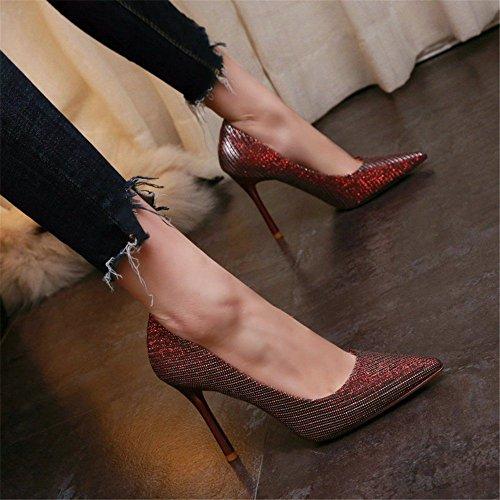 YMFIE La Multa de Las Mujeres con los Zapatos de Boca Baja Puntiagudos Temperamento de Moda Sexy Banquete de Fiesta Tacones Altos Zapatos de Boda B