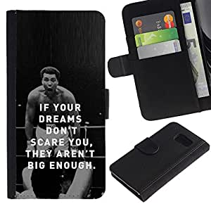 Billetera de Cuero Caso Titular de la tarjeta Carcasa Funda para Samsung Galaxy S6 SM-G920 / boxing fighter exercise motivational quote / STRONG