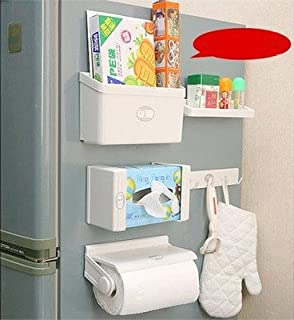 Hever Refrigerator Side Storage Rack 5 Pieces Cabinet Organizer Set Spices  Container Napkin Box