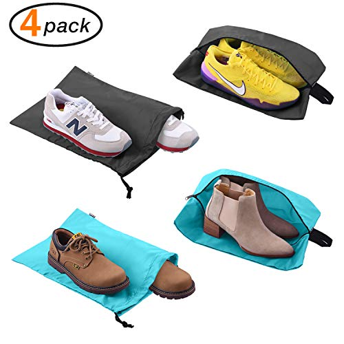 Shoe Bags for Travel Accessories Men & Women Large Shoe Bag with Drawstring and Zipper for Storage Golf Gym 4-Pack (2 Color)
