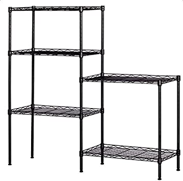 5-Shelf Shelving Storage Unit Black Metal Organizer Wire Rack