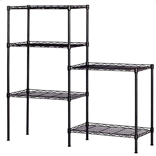 ZAILHWK 5 Shelf Metal Storage Rack,Changeable Assembly Floor Standing Storage Rack Display Shelf for Bathroom Garden Kitchen Storage