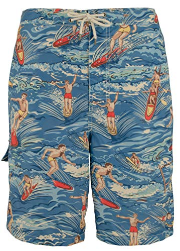 Lined Swim Trunks Hawaiian (Polo Ralph Lauren Men's Big and Tall Kailua Surf Swim Trunks (Hawaiian Surfer, 4X Big))