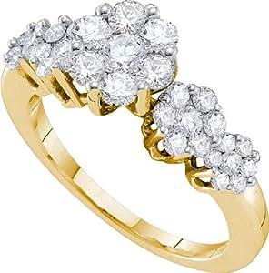 Anillo de diamante 1, 00CTW diamante sortijaflor GL4157 O tamaño
