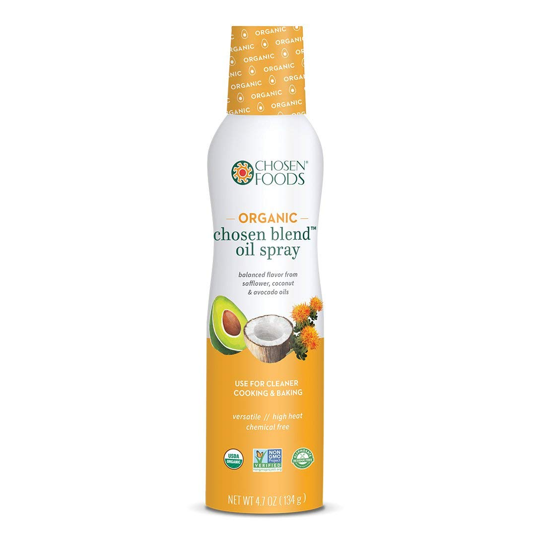 Chosen Foods Organic Chosen Blend Oil Spray 4.7 oz. (2 Pack), Non-GMO, 490° F Smoke Point, Propellant-Free, Air Pressure Only for High-Heat Cooking, Baking and Frying by Chosen Foods