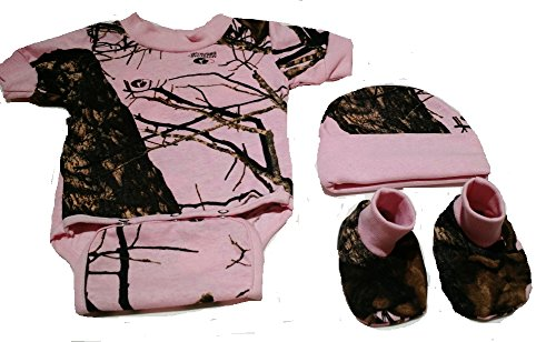 Review Pink Mossy Oak Camo 3 PC Baby Set includes Matching Diaper Shirt, Hat & Booties (3-6 Months)