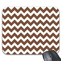 Mousepad Brown Chevron Zig-Zag Pattern Print Mouse Mat Computer Accessories