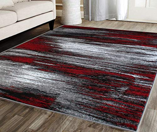 Masada Rugs, Modern Contemporary Area Rug, Red Grey Black (5 Feet X 7 Feet) (Rugs Area Red)