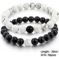 2pc Balanced Howlite Matte Black & White Beaded Bracelets for Lovers Couple Gift