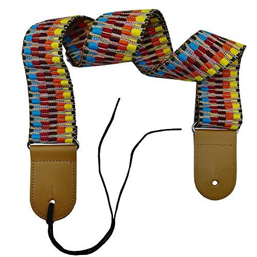 Gents Strap - Xinlinke Electric Acoustic Guitar Strap for Women Man Kids Soft Cotton Woven Rainbow Design