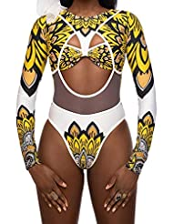 8ad6a2870d7e8 Alangbudu Women's African Tribal Metallic Print Cut Out Long Sleeve Bikini  Sets High Waist Monokini Swimsuit