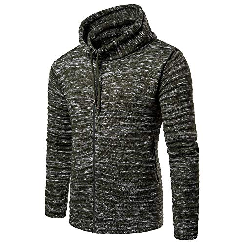 Kobay Manteau Armée Automne Verte Veste Tricot Outwear Hommes Blouse Rayé Hiver Solide ArwA1U