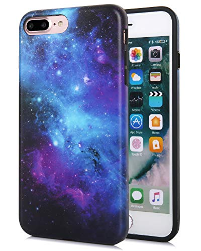 - FeelingJoy Compatible iPhone 7 Plus/iPhone 8 Plus Case, IMD Marble Galaxy Space Floral Time Pattern Print Cover Design Protective Shockproof Bumper Phone Case