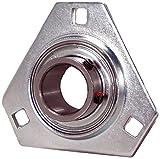 ball bearings 3 16 - Peer Bearing PER FHSPFTZ205-16 3 Bolt Triangle Flange Unit, Pressed Steel, Narrow Inner Ring, Non-Relubricable, Set Screw Locking Collar, Single Lip Seals, 1