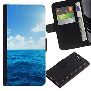 Sony Xperia Z1 Compact / Z1 Mini / D5503 , la tarjeta de Crédito Slots PU Funda de cuero Monedero caso cubierta de piel ( Sun Sea Summer Sky Blue Nature Clouds)
