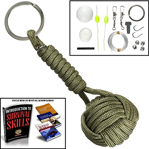 Paracord Keychain Lanyard Tactical Bushcraft Survival Gear #1 Best Flint Fire Starter for Bug Out Bag (Army Green) ()