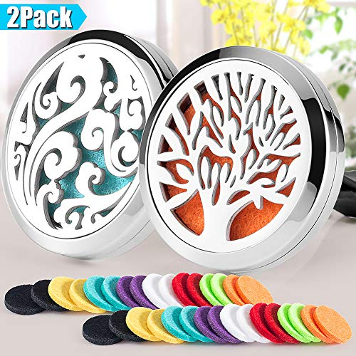 2PCS Aromatherapy Essential Oil Diffuser Car Diffuser Vent Clip 30mm Stainless Steel Car Diffuser Locket Air Freshener (Tree of Life & Cloud) 32 Felt Pads