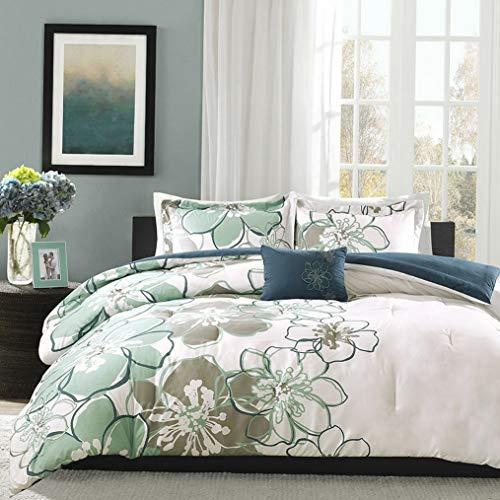 Kaputar Beautiful Chic Modern Reversible Soft Blue Aqua Teal Floral Flower Comforter Set | Model CMFRTRSTS - 1216 | Twin