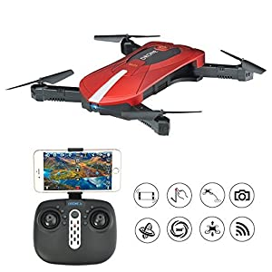 RC Selfie Drone with 2mp Camera, WIFI FPV Foldable Drone Quadcopter , Altitude Hold Pocket Drone RTF(2 battery)