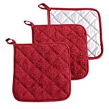 "DII 100% Cotton, Machine Washable, Heat Resistant, Everyday Kitchen Basic Terry Pot Holder, 7 x 7"", Set of 3, Potholder, Barn Red, 3 Piece"