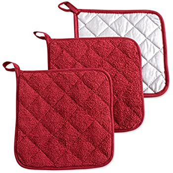 DII 100% Cotton, Terry Pot Holder Set Machine Washable, Heat Resistant, 7 x 7, Barn Red, 3 Piece