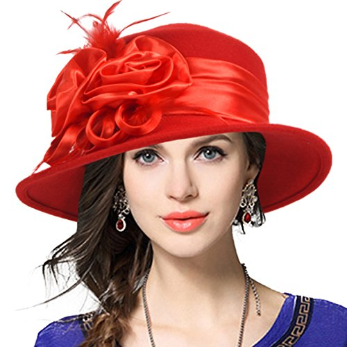 Women's Wool Church Dress Cloche Hat Plumy Felt Bucket Winter Hat (Floral-Red) ()