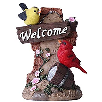 Teresas Collections Bird Welcome Sign Garden Statue with Solar Light Resin Garden Sculptures for Spring Easter Outdoor Decoration(Outdoor Paradise)