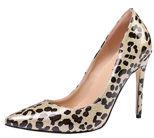 (AOOAR Women's Glitter Gold Leopard Patent Dress Pumps 10 M US)