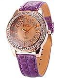 AMPM24 Fashion Bling Crystal Women Lady Girl Analog Purple Leather Quartz Watch Gift WAA248