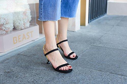 Hauts Chaussures Sandales Cheville Talons Noir pour Femmes Chaton Ruiren Dames Ouvert Talon xOqTHY8H
