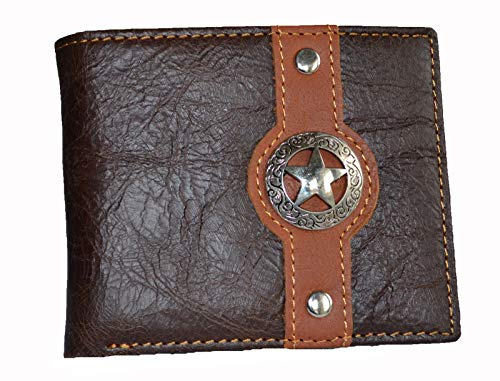 - western men brown texas star concho bi-fold small hipster slim leather coin wallet (COFFEE)
