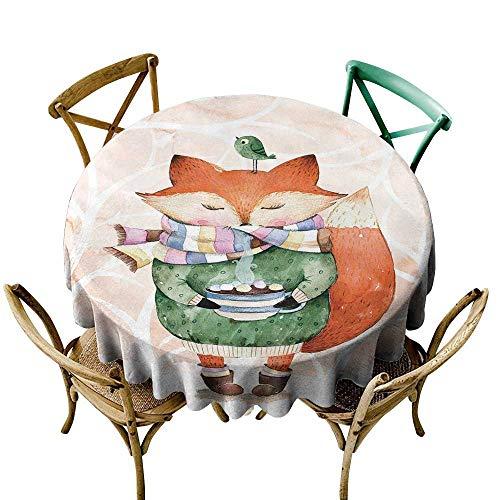 Wendell Joshua Premium Round Tablecloth 48 inch Watercolor,Cute