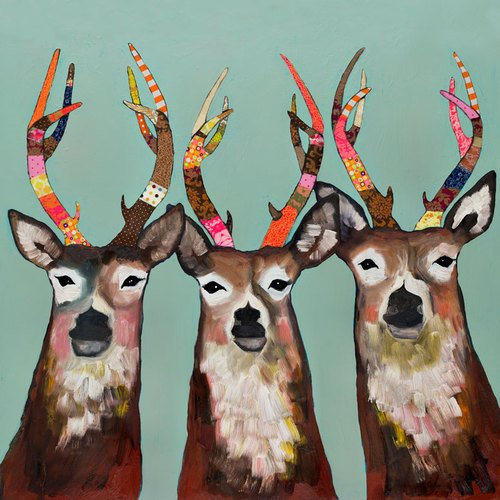 GreenBox Art + Culture Designer Deer by Eli Halpin Canvas Wall Art, 24 by 24-Inch by GreenBox Art + Culture