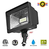 Cinoton LED Floodlight With Knuckle, 50W (250W Equivalent), 5500 Lumen, 5000K (Crystal White Glow), Waterproof, IP65, 100-277v, Instant On (1 PACK, Dusk-to-dawn Photocell)