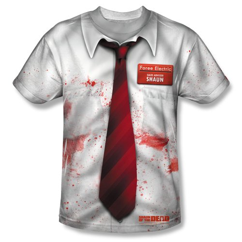 Costume Of Zombie Shaun The Dead (Shaun of the Dead - Men's T-Shirt Shaun Costume Design , Large,)
