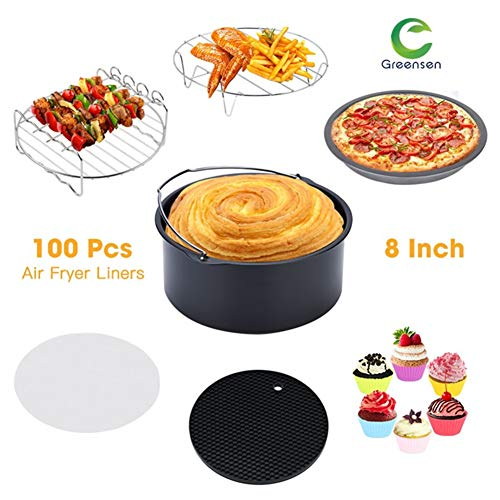 """Greensen Air Fryer Accessories 8"""" XL For Gowise Phillips Cozyna, Set of 7 Fit All 5.3QT-5.8QT and UP, Pizza Pan, Cake Barrel, Baking Cups, Parchment Liners, Skewer Grill, Metal Rack and Silicone Mat"""