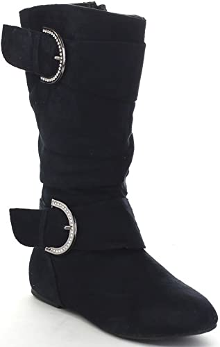 Toddler//Little Kid//Big Kid UBELLA Girls Leather Back Zipper Quilted Bowknot Knee High Boots