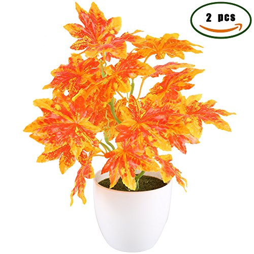 GTidea 2pcs Artificial Plants Silk Fall Maple Leaves Fake Shrubs Bunches Anti-UV Home Garden Office Table Windowsill Indoor Outside Greenery Decor Red (Not Include (Party City In Coral Springs)