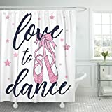 Emvency Shower Curtain Girl Love to Dance and Ballerina Pink Shoes Cute Waterproof Polyester Fabric 60 x 72 Inches Set with Hooks