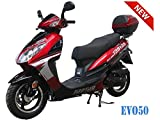 50cc Bigger Size Gas Street Legal Scooter TaoTao EVO 50 - Black (Red)
