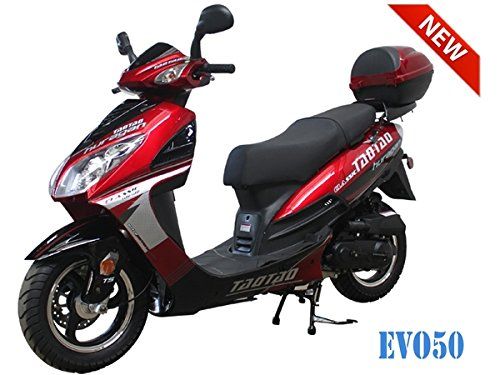 Cheap 50cc Bigger Size Gas Street Legal Scooter TaoTao EVO 50 - Black (Red) 50cc scooter