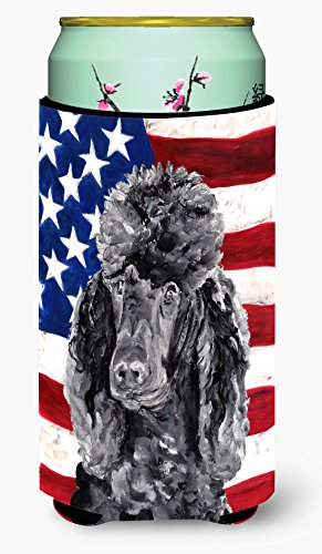 (Black Standard Poodle with American Flag USA Tall Boy Beverage Insulator Hugger SC9626TBC)