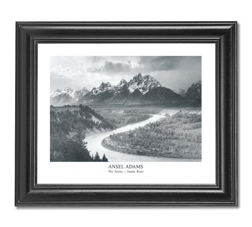 (Ansel Adams Snake River B/W Photo Wall Picture Framed Art Print)