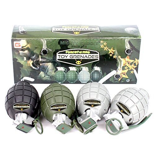 Mighty Gadget (R) 4 Pack of Kids Toys Pretend Play Toy Grenades with Realistic Explosion Sound & Light ( Beautiful Gift Box Package - Random (Military Toy Guns)